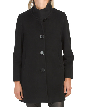 Petite Four Button Cashmere And Wool Blend Coat