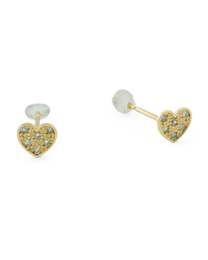 14k Gold And Diamond Heart Stud Earrings