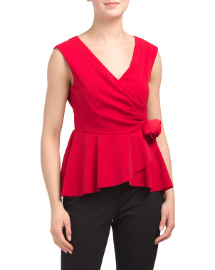 Sleeveless Peplum Top With 3d Flower