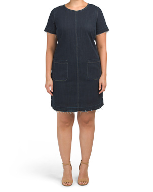 Plus Short Sleeve Denim Release Hem Dress