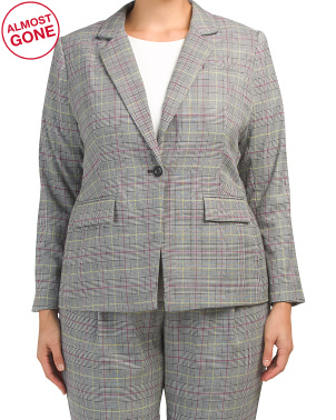 Plus Colorful Glen Plaid Notch Collar Jacket