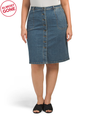 Plus Denim A-line Button Front Skirt