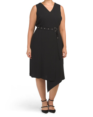 Plus Sleeveless Matte Crepe Belted Dress