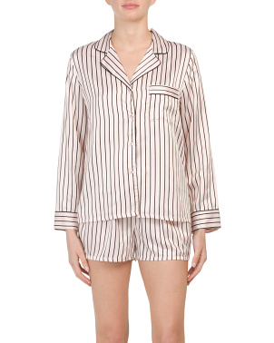 Satin Striped Notch Collar Shorty Pj Set