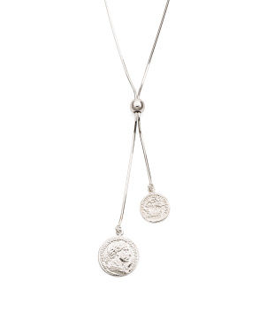 Made In Italy Sterling Silver Double Coin Slide Necklace