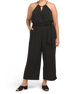 Plus Halter Neckline Cross Front Jumpsuit