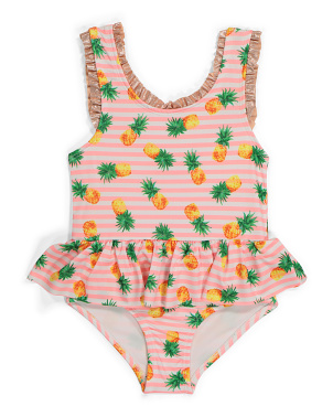 Little Girls Pineapple Ruffle One-piece Swimsuit