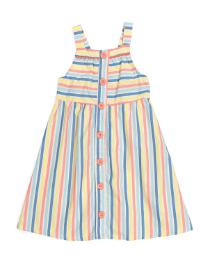 Little Girls Striped Button Front Dress