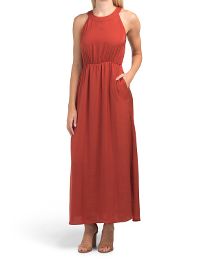 Satin Halter Maxi Dress