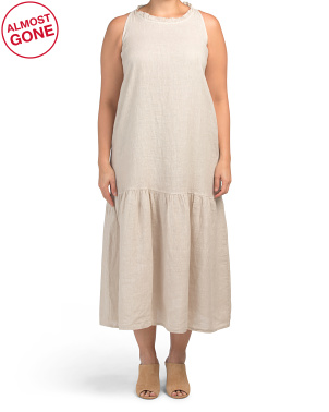 Plus Made In Italy Linen Maxi Dress