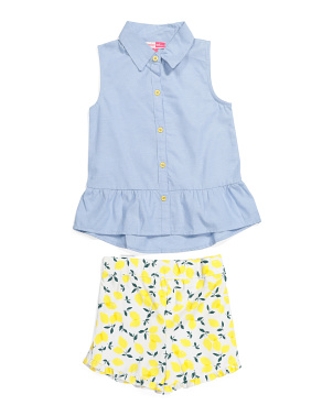 Little Girls Lemon Short Set