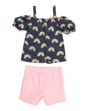 Little Girls Rainbow Short Set