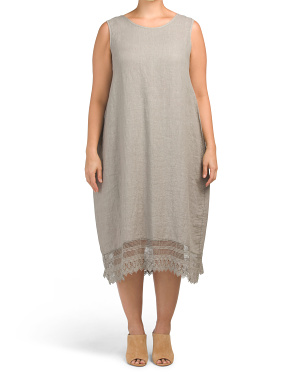 Plus Made In Italy Crochet Hem Linen Dress