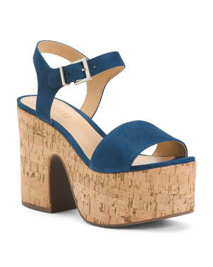 Made In Brazil Suede Platform Cork Bottom Sandals
