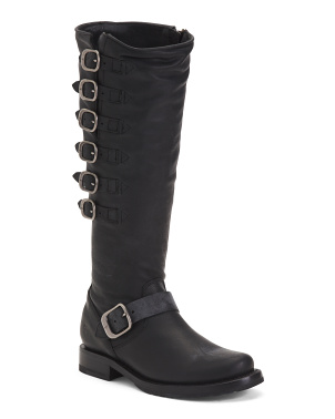 Belted Tall Leather Boots