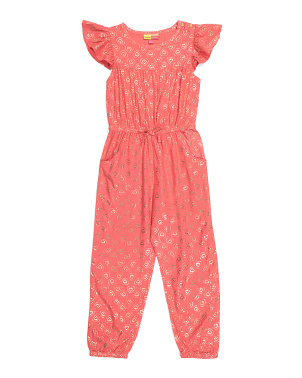Big Girls Flutter Sleeve Jumpsuit
