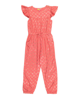 Little Girls Flutter Sleeve Jumpsuit