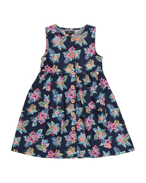 Little Girls Tropical Floral Dress