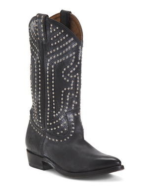 Pull On Studded Leather Boots