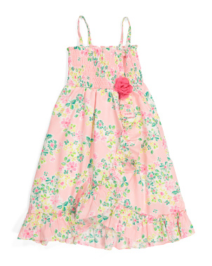 Little Girls Floral Smocked Dress