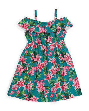 Little Girls Off The Shoulder Tropical Dress