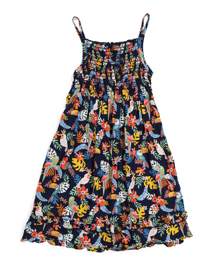 Little Girls Tropical Bird Dress