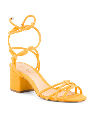 Made In Brazil Suede Ankle Strap Heeled Sandals
