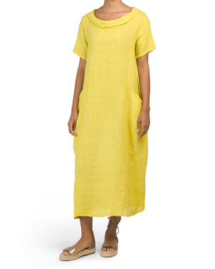 Made In Italy Linen Cowl Neck Dress