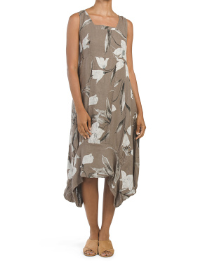 Made In Italy Floral Printed Linen Dress