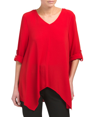 Roll Tab V-neck Blouse