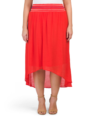 Plus High-lo Gauze Midi Skirt