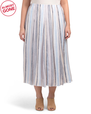 Plus Stripe Printed Slub Midi Skirt