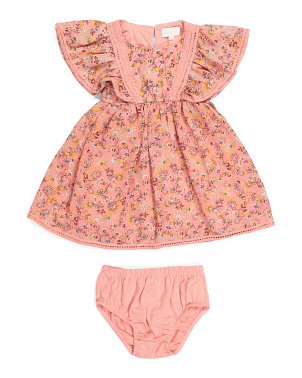 Infant Girls Crepe Dress & Bloomers