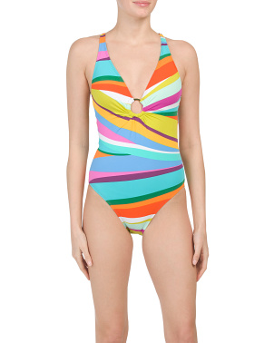 Bold Strokes Plunge Halter One-piece Swimsuit