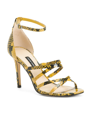 Snakeskin Embossed Strappy Heeled Sandals
