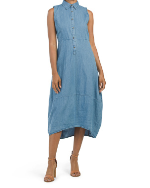 Made In Italy Button Front Denim Midi Dress