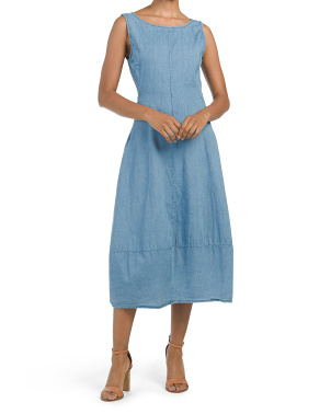 Made In Italy Seamed Denim Midi Dress