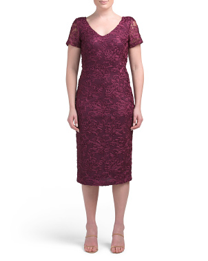Short Sleeve V-neck Soutache Midi Dress