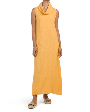 Made In Italy Linen Sleeveless Cowl Neck Maxi Dress
