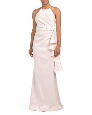 Halter Side Ruffle Gown