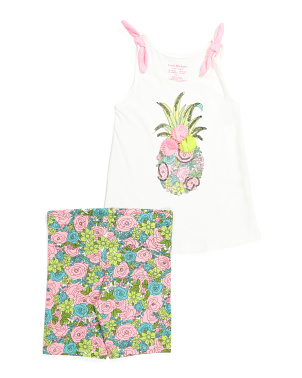 Girls 2pc Pineapple Bike Short Set