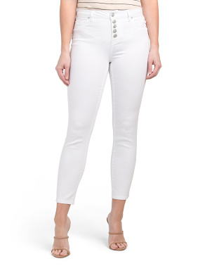 High Waist Exposed Button Fly Skinny Jeans