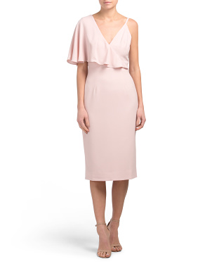 Beth Asymmetrical Ruffle Sleeve Midi Dress