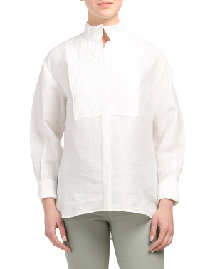 Linen Clean Collared Tux Shirt