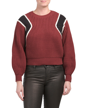 Cropped Balloon Sleeve Crew Neck Sweater