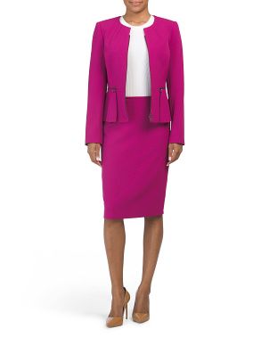 Peplum Zipper Jacket And Skirt Set