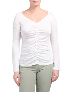 Ruched Linen Long Sleeve Top