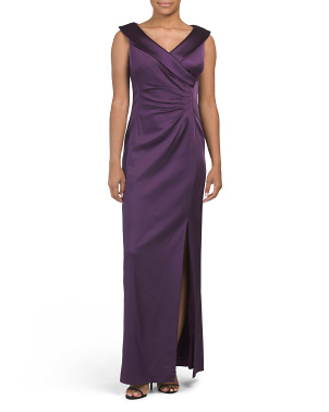 Side Ruched Stretch Satin Gown