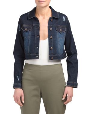 Cropped Denim Jacket With Destruction