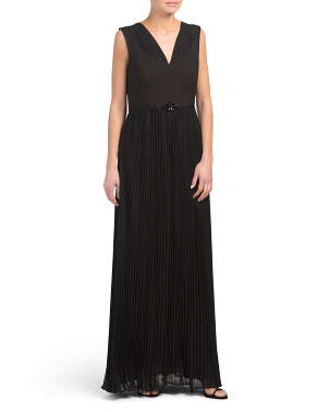 Crepe Gown With Pleated Chiffon Skirt